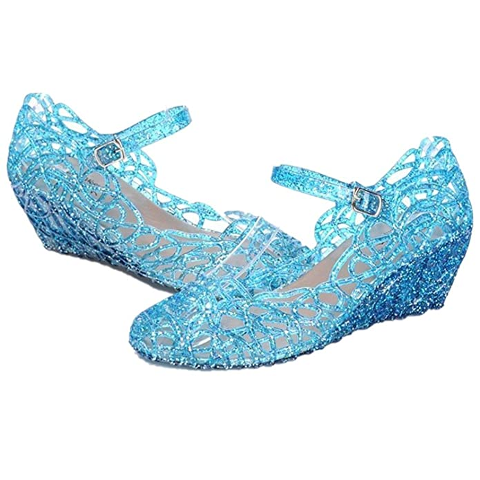 Amazon.com | Princess Girls' Sparkle Dress up Cosplay Jelly Shoes ...