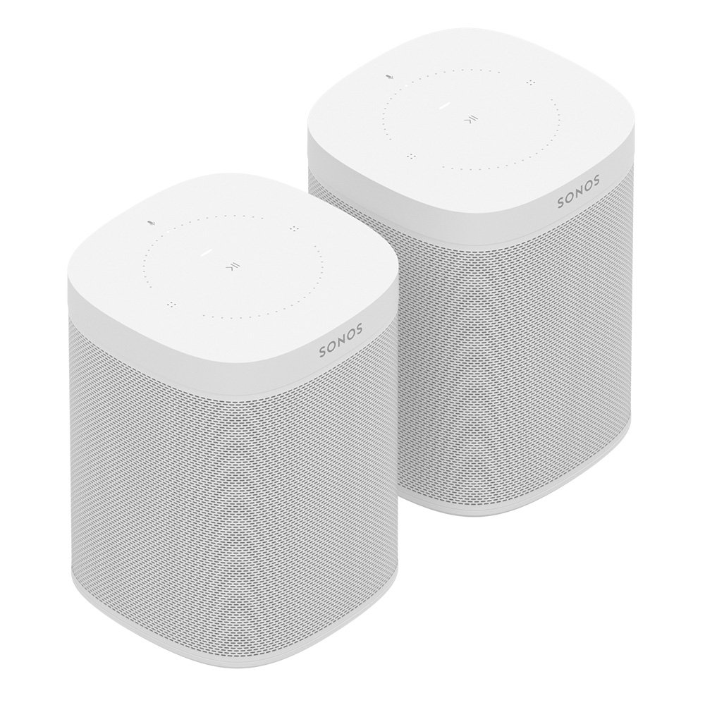 Two Room Set with all-new Sonos One - Smart Speaker with Alexa voice control built-In. Compact size with incredible sound for any room. (White) by Sonos