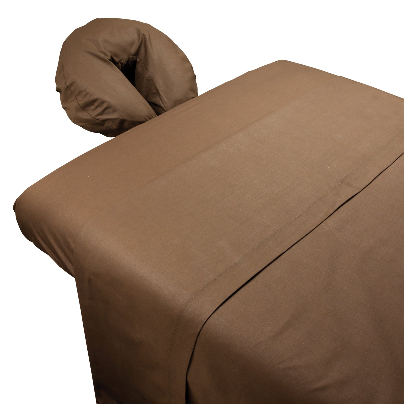 Massage Table Sheet Set by Body Linen - Extra-Large Sheet For Optimum Coverage and Fit With Standard Size Tables and Face Cradles - Super Soft and Durable For Professional Use {Chocolate Poly/Cotton}
