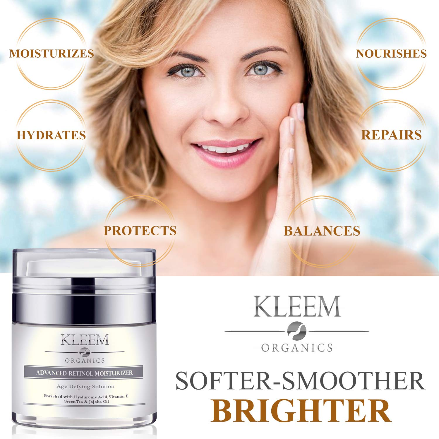 Anti Aging Retinol Moisturizer Cream: for Face, Neck & Décolleté with 2.5% Retinol and Hyaluronic Acid