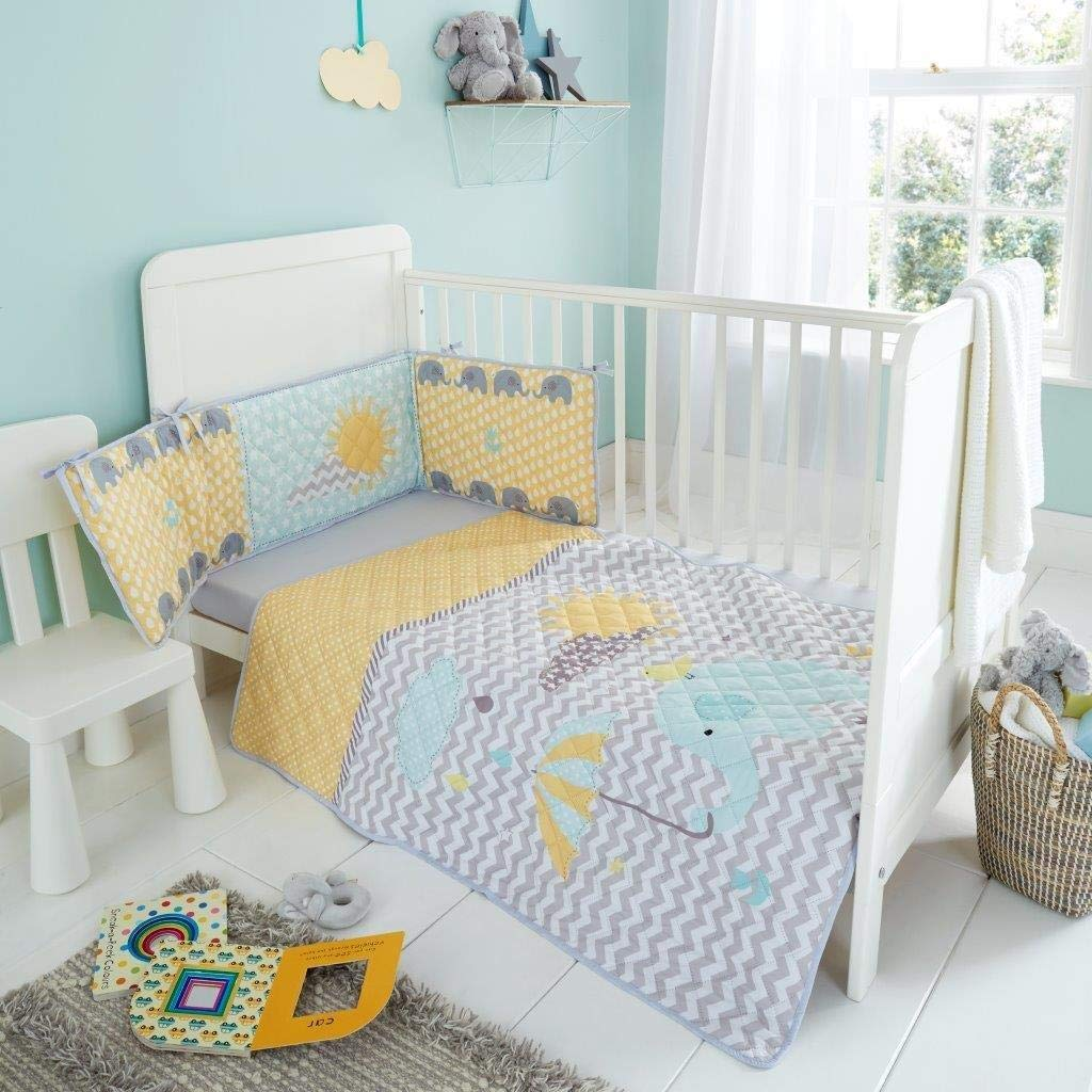 Quest-Mart/® Luxury JUNIOR COT BED SHEET COVERLET Bedspread//Bumper Set Kids Baby 3pc Toddler Bedding BUNNY MOON