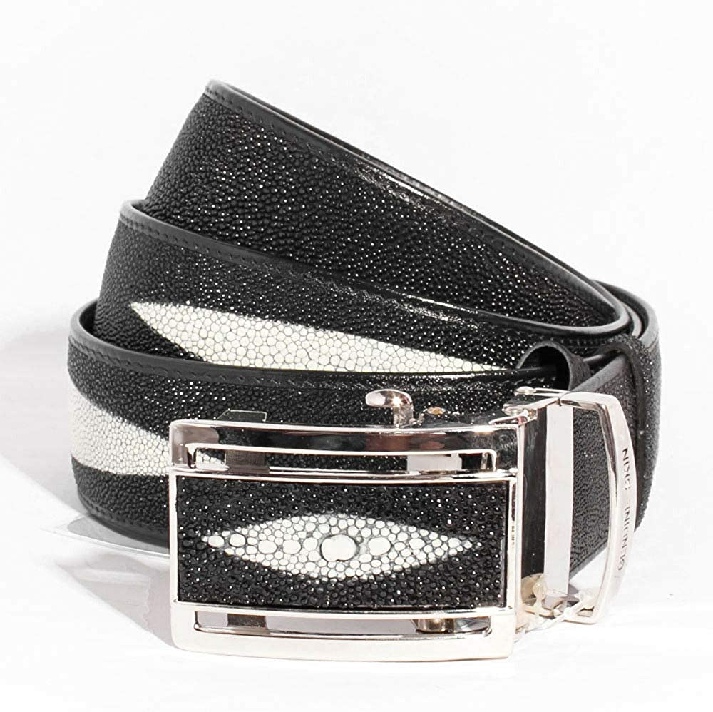 Black Genuine Stingray Leather Belt with money pouch