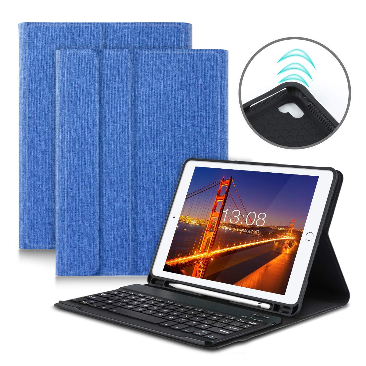 超人気新品 iPad 9.7キーボードケース iPad 2018(第6世代) - Pro B-BHU302814 iPad 2017(第5世代) - iPad スリム Pro 9.7- iPad Air 2 1 スリム 取り外し可能 Bluetooth キーボード フォリオスタンド付き マルチアングルビューカバー ペンシルホルダー ブルー B-BHU302814 ブルー B07L3THGH8, サンデーハウス:ce2ebbfb --- a0267596.xsph.ru