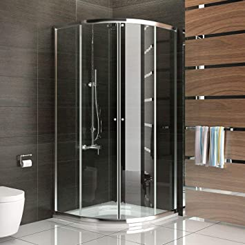 Echtglas Schiebetür Viertelkreis Duschkabine 90x90 X190 Cm Mit  Nanobeschichtung Duschabtrennung Mit Rahmen Dusche Komplett Inkl.