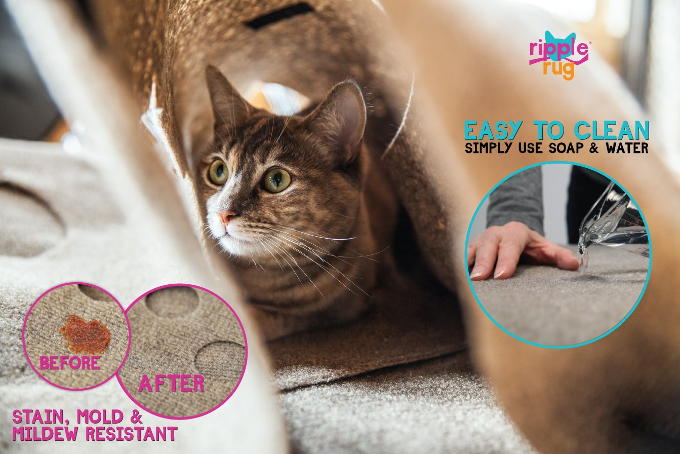 SnugglyCat The Ripple Rug - Made in USA - Cat Activity Play Mat - Thermally Insulated Base - Fun Interactive Play - Training - Scratching - Bed Mat 5
