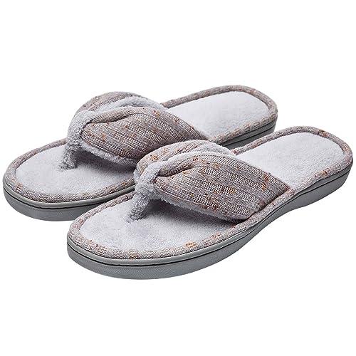 a334d09c07b51 Women s Soft   Comfy Knitted Plush Fleece Lining Memory Foam Spa Thong Flip  Flops House Slippers