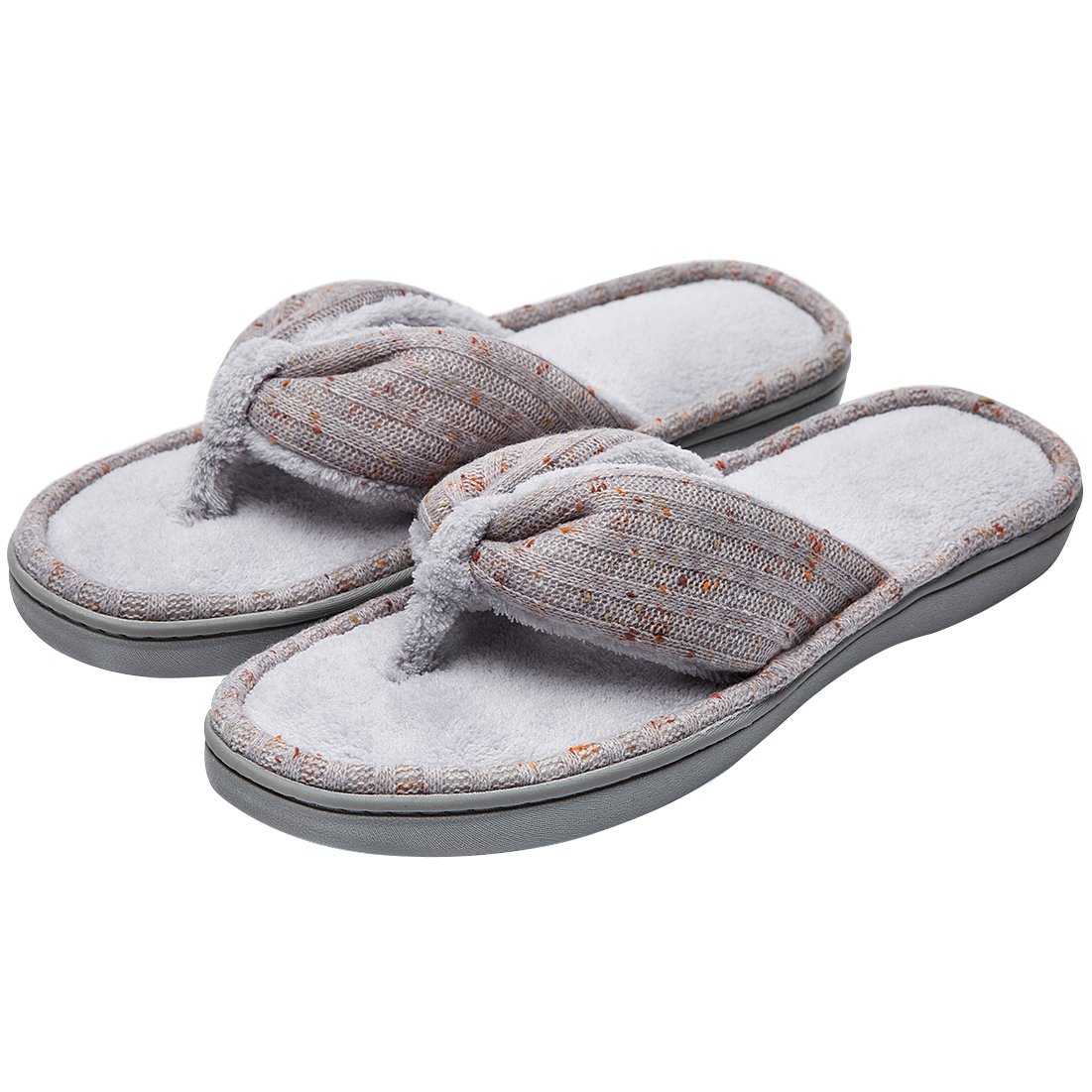 Women's Soft & Comfy Knitted Plush Fleece Lining Memory Foam Spa Thong Flip Flops House Slippers (Medium/7-8 B(M) US, Gray)