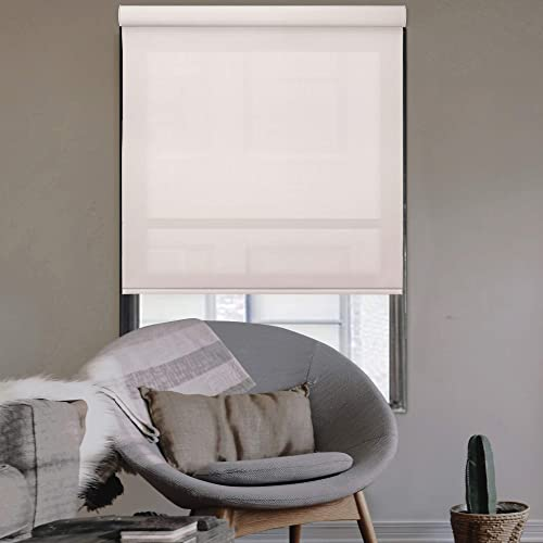 Godear Design Modern Free Stop Cordless Roller Shade with Cassette Valance, 46 x 72 , Room Darkening, Champagne, Thermal