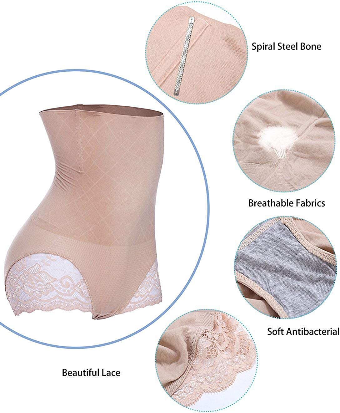 Larry/&Marry Women Tummy Control Belly Girdle Waist Trainer Cincher Body Slim Shapewear Butt Lifter Enhance Panty