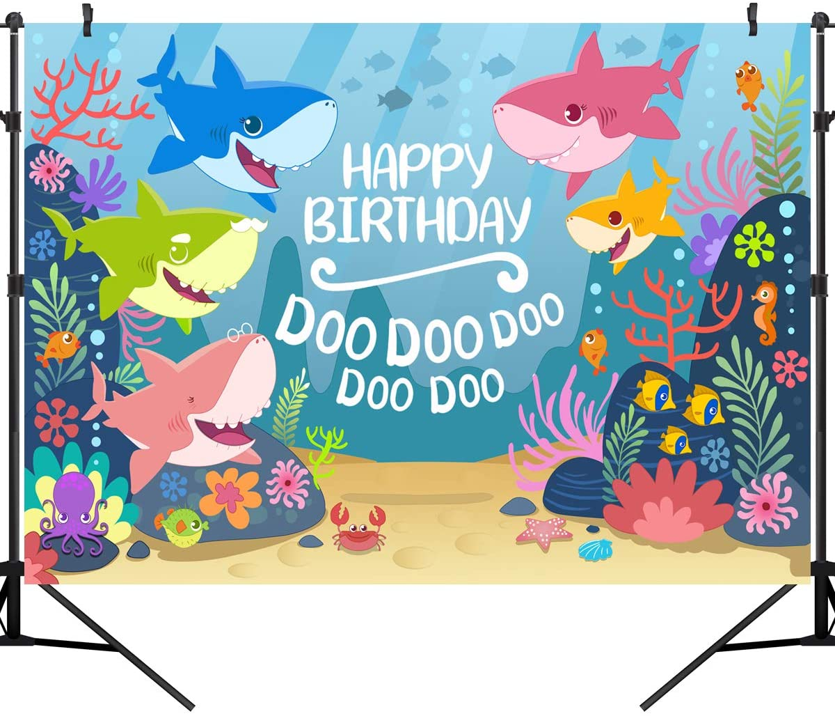 OUYIDA 5X3FT Blue Ocean Shark Birthday Party Background Baby Shark Party Backdrop Baby Shark Banner Photography backdrops Vinyl Photo Studio Props PCK25