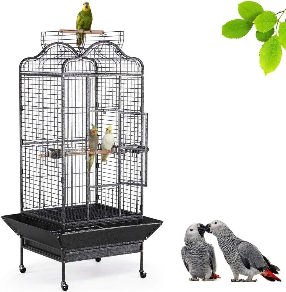 Yaheetech Jaula para Pájaros Jaula Grande con Ruedas Jaula Grande Metal 81 x 77 x 160 cm