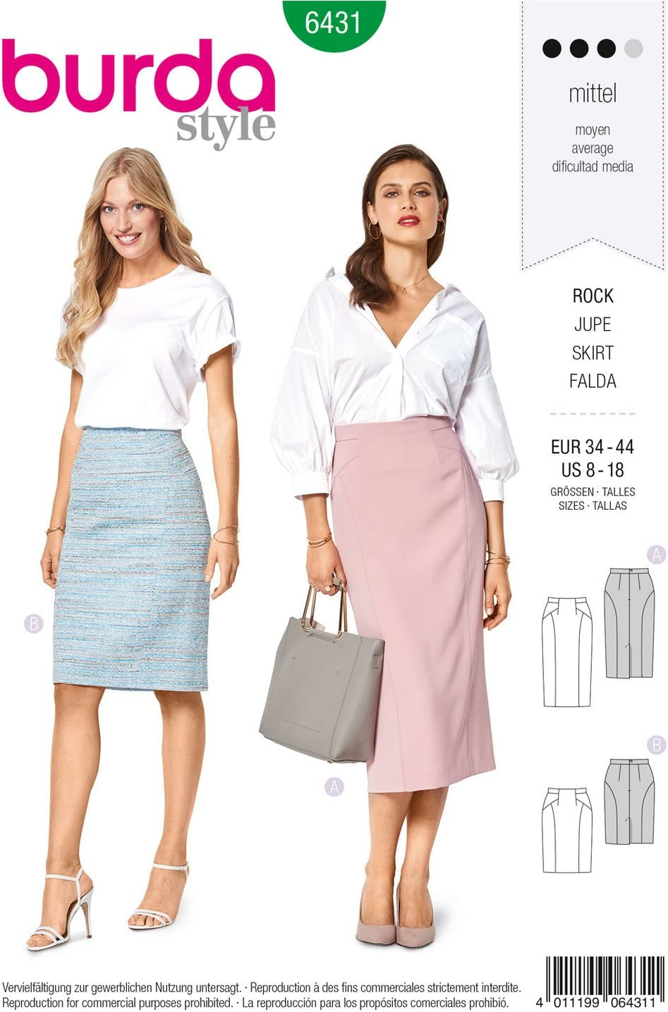 Patrón de costura Burda Style b6431- Misses lápiz falda, un (8 ...