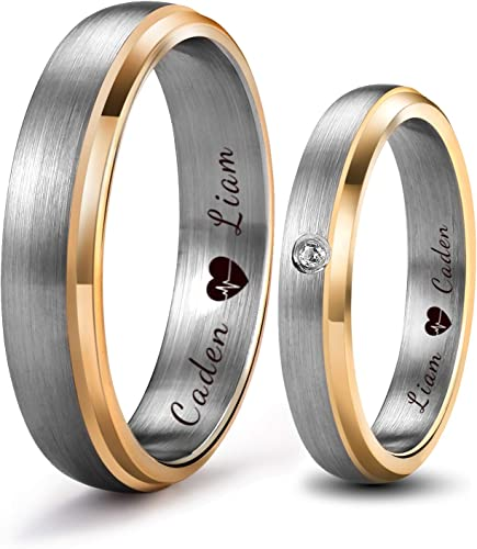 Lerchphi 4mm 6mm Wedding Band Tungsten Couple Ring With Gold