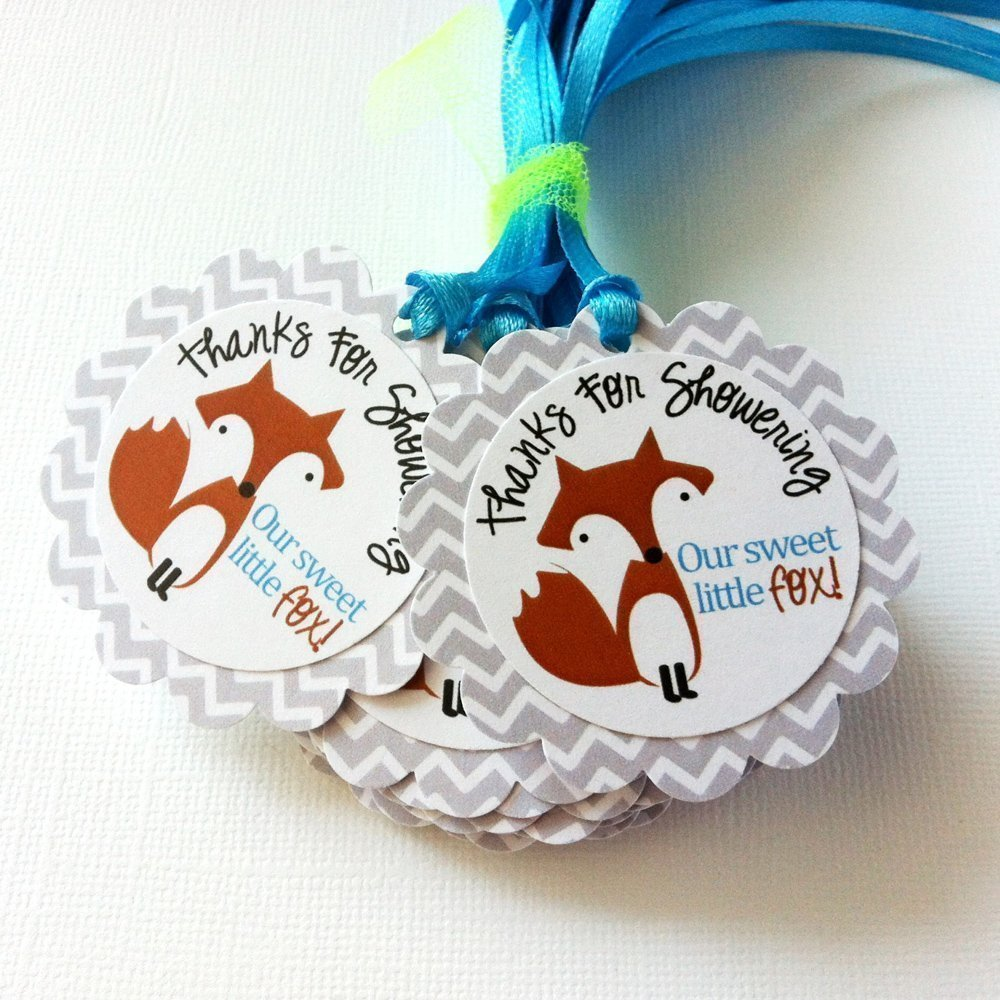 Thanks for Showering Our Sweet Little Fox Favor Gift Tags for Baby Shower Party Celebration - Set of 12