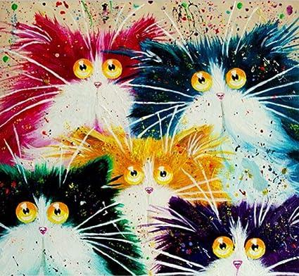 wangjian& Cuadros de Gatos Pintura de Bricolaje por números Pintura al óleo por números Europeos de
