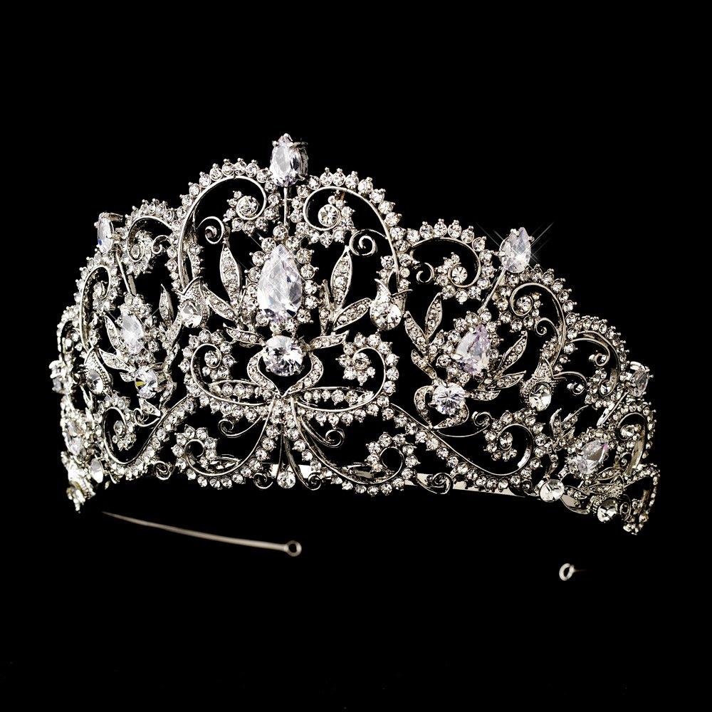 Abbey Antique Rhinestone Royal Princess Pageant, Quinceanera, Sweet 16, Wedding Bridal Tiara