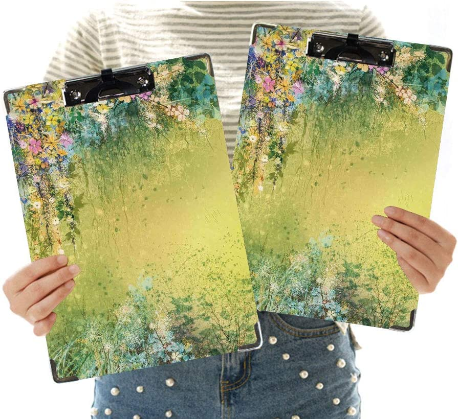 Watercolor Flower Home Decor Letter Size Clipboard,Spring Foliage with Leaves Hand Drawn Aesthetic Inspiring Picture Customized Cute Hardboard Office Clipboard with Low Profile Clip for Letter Size Pa