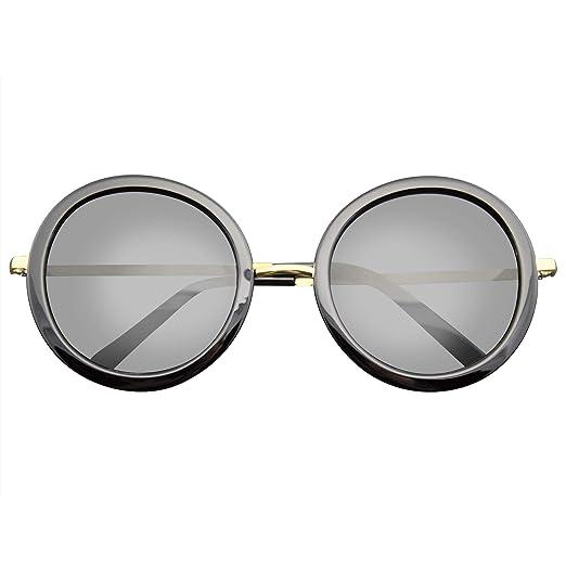 a6198c89a New Round Circle Fashion Designer Celebrity Womans Sunglasses (Black Gold)