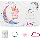Baby Milestone Blanket Girl Monthly Age Blanket Moon Soft Infant Monthly Milestone Blanket Boy Baby Shower Blanket Includes H