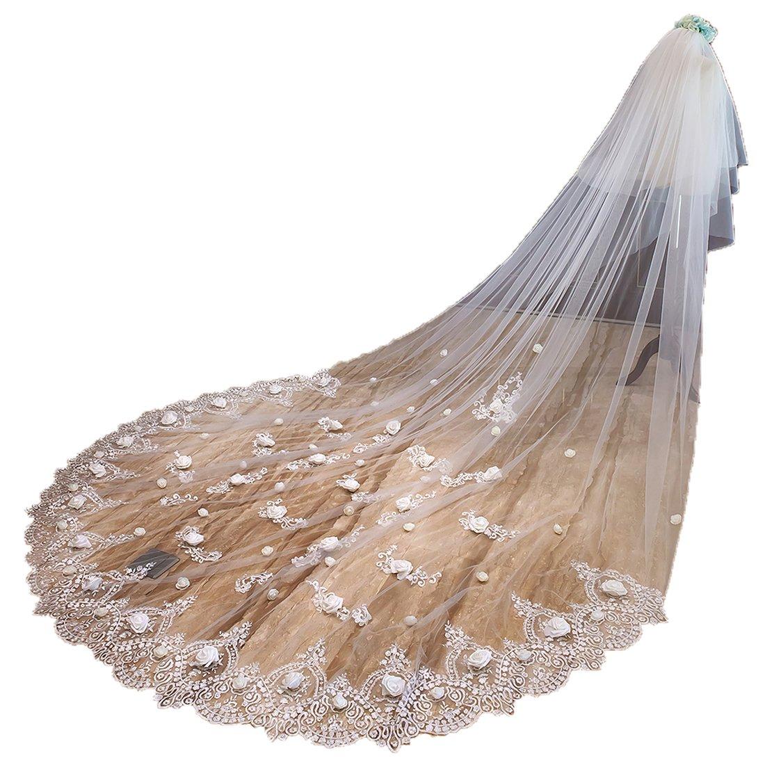 Lighter Ivory IBEXMAN Women's Lace Wedding Bridal Veil With Comb Big Train 251