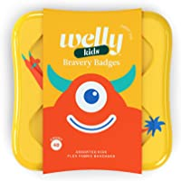 Welly Bandages - Bravery Badges, Flexible Fabric, Adhesive, Standard Shapes, Monster Patterns - 48 ct