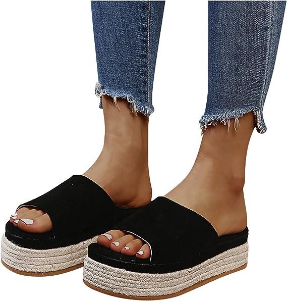 XXXZZL Womens Elastic Flat Summer Sandals Schlappen Damen