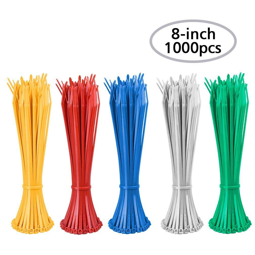 Zip Ties - Heavy Duty Self-Locking Nylon Cable Zip Ties 8 Inch Indoor and Outdoor UV Resistant for Home, Office, Garage, Workshop Wire and Cord Management (1000pcs, 5 Colors)