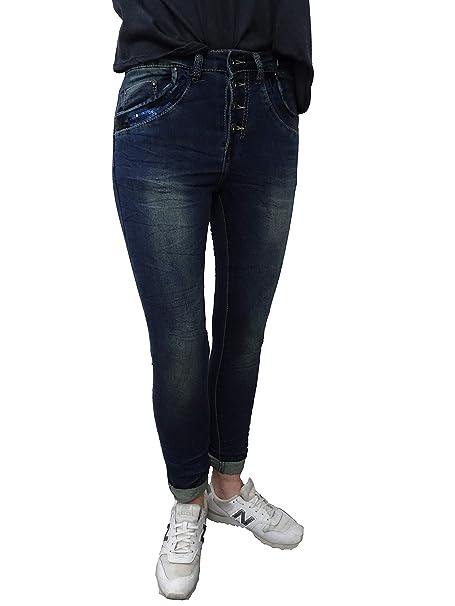 Place du Jour Baggy Boyfriend Damen Stretch Hose Vintage Denim Jeans Knöpfe