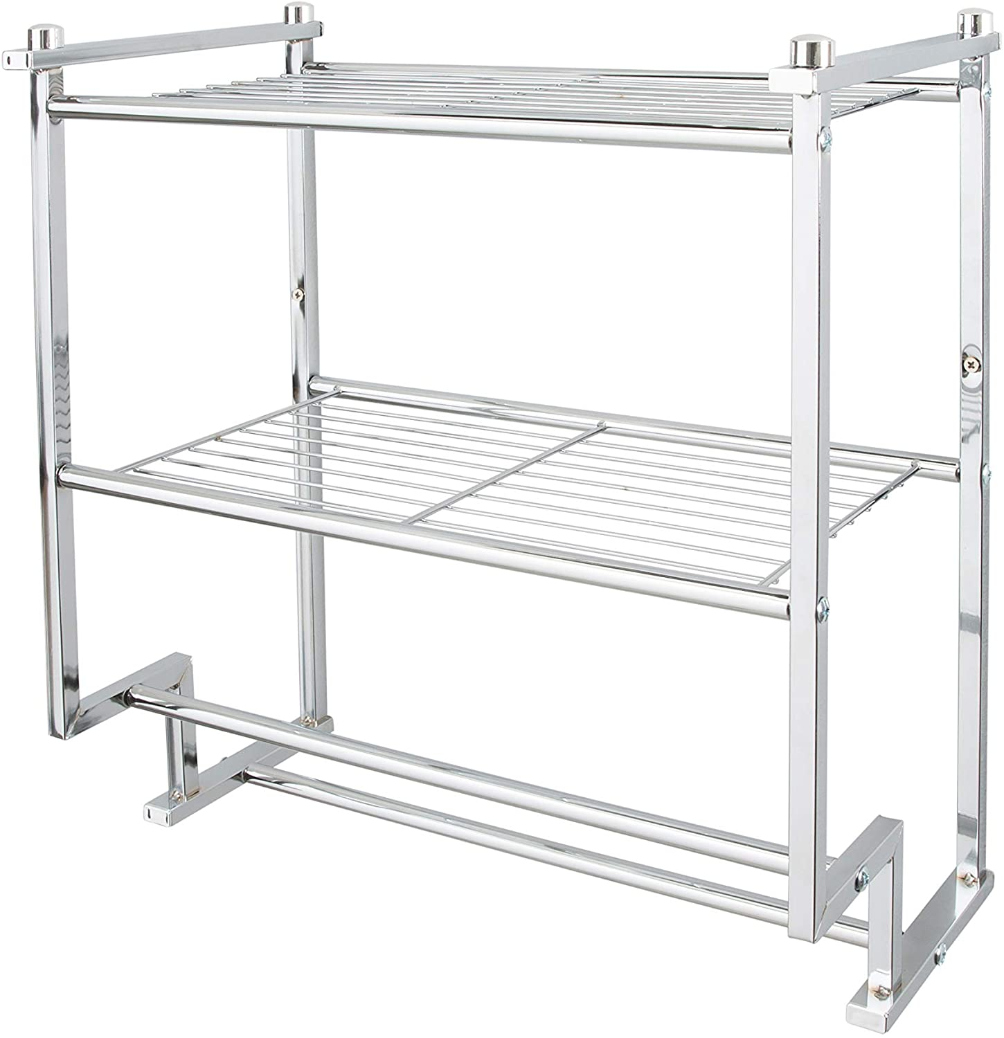Amazon Com Organize It All Chrome 2 Tier Wall Mounting Bathroom Rack With Towel Bars Home Kitchen
