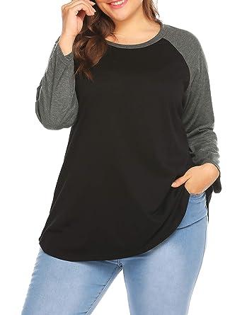 ce77cef34 Womens Plus Size Short Sleeve/Long Sleeve Raglan T-Shirt Tunic Blouse Top  Black