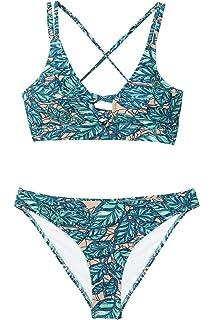 9a397af135561 Amazon.com: CUPSHE Women's Lotus Pond Halter Cross at Front Bikini ...