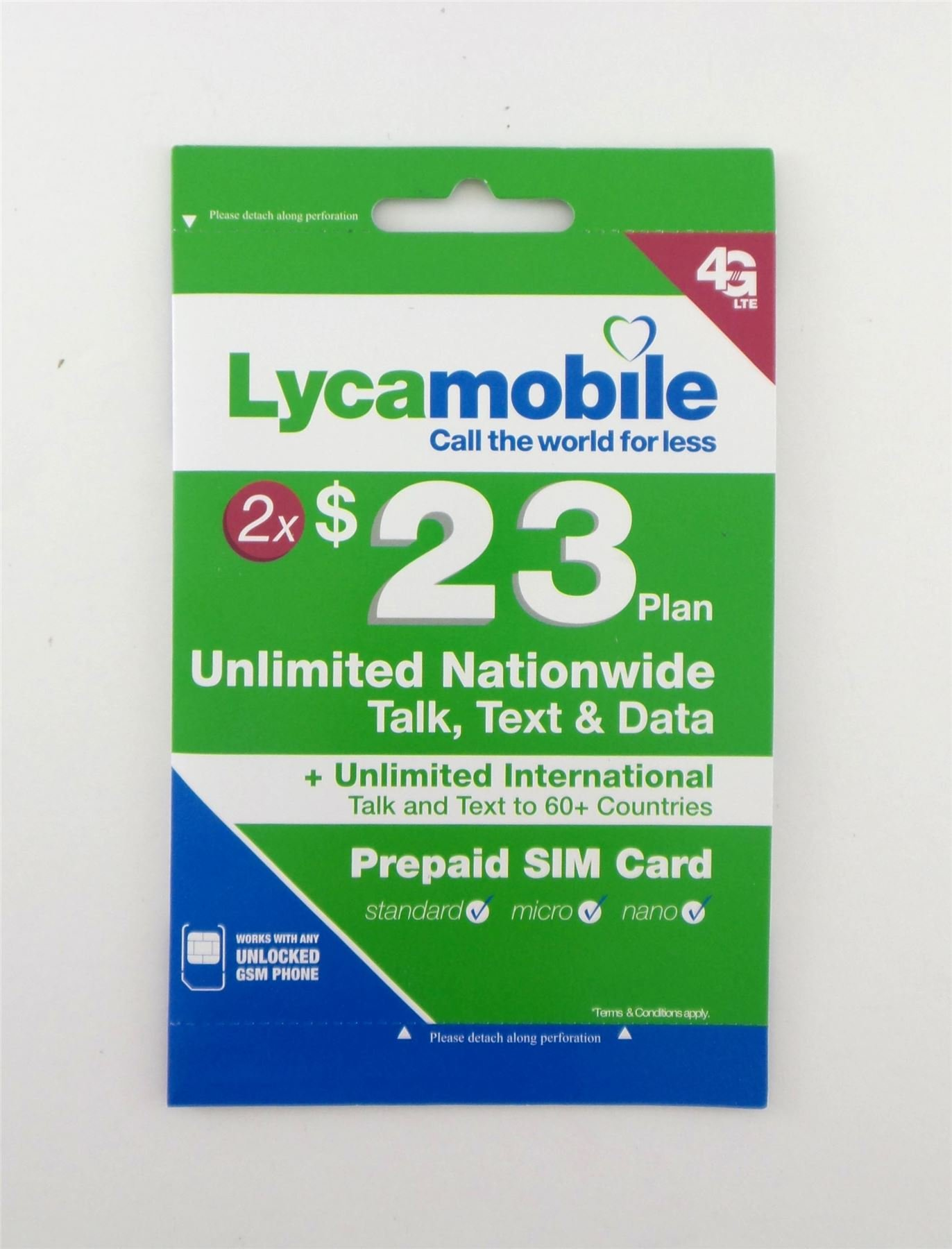 Lycamobile $23 Preloaded For Two Months Prepaid 3in1 Triple Punch Unlimited Talk, Data, Text U.S. by Lycamobile