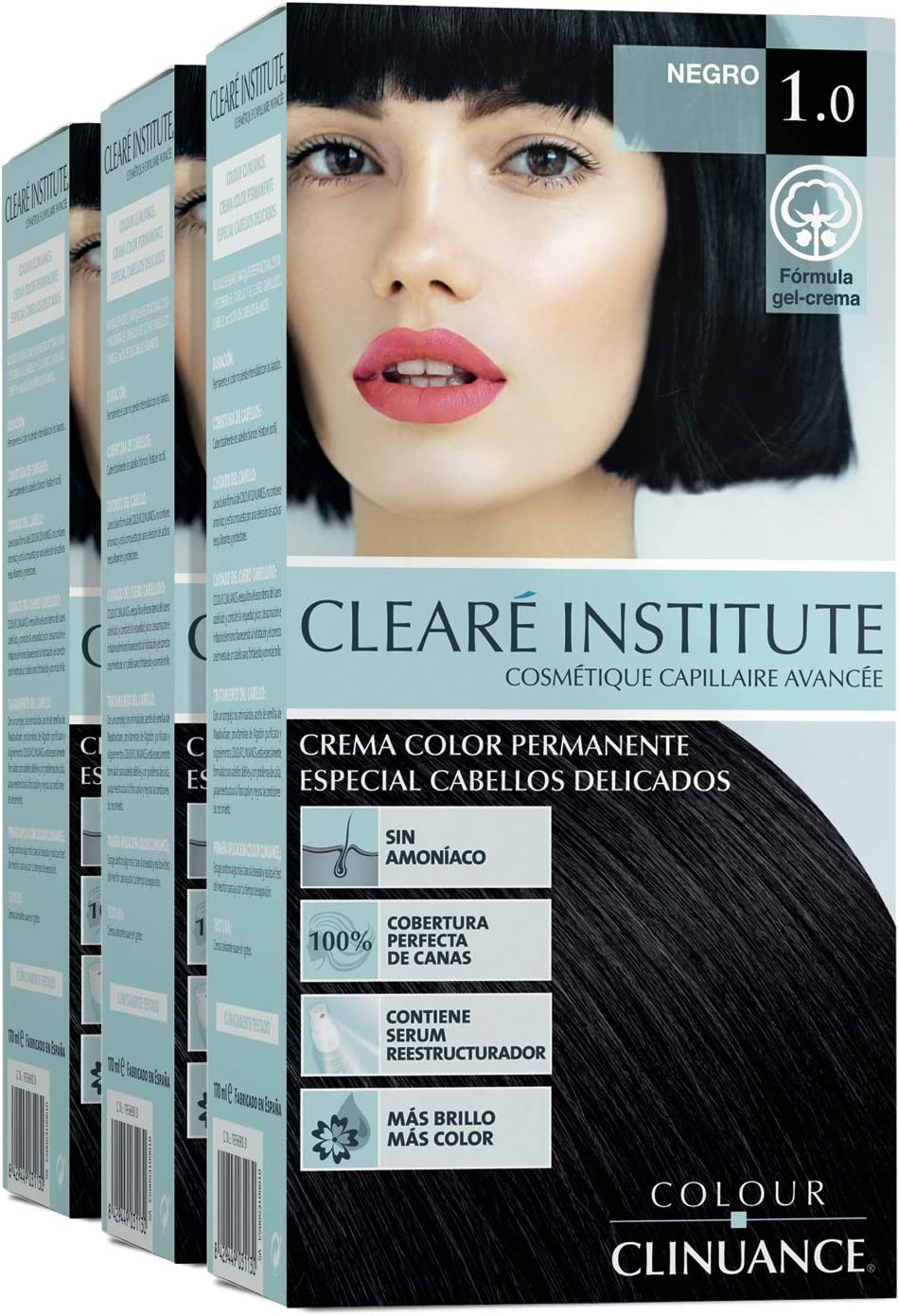Colour Clinuance. Tinte Capilar Cabellos Delicados. 1.0 Negro, Coloración Permanente Sin Amoniaco, Más Brillo, Color Intenso, 100% Cobertura, Testado ...