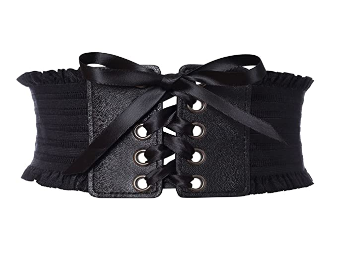 1677f4bf9a GRACIN Women s Stylish Buckle Elastic Wide Corset Waistband Belt with Ribbon  (Black)