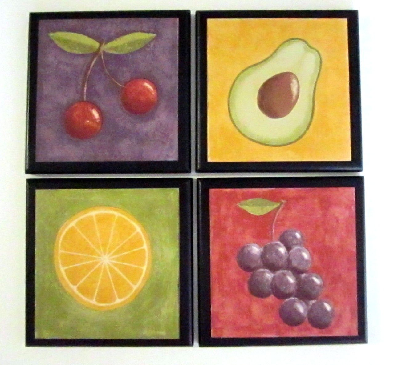 Fruit Wall Decor Plaques - Set of 4 Bright Modern Style Kitchen Signs
