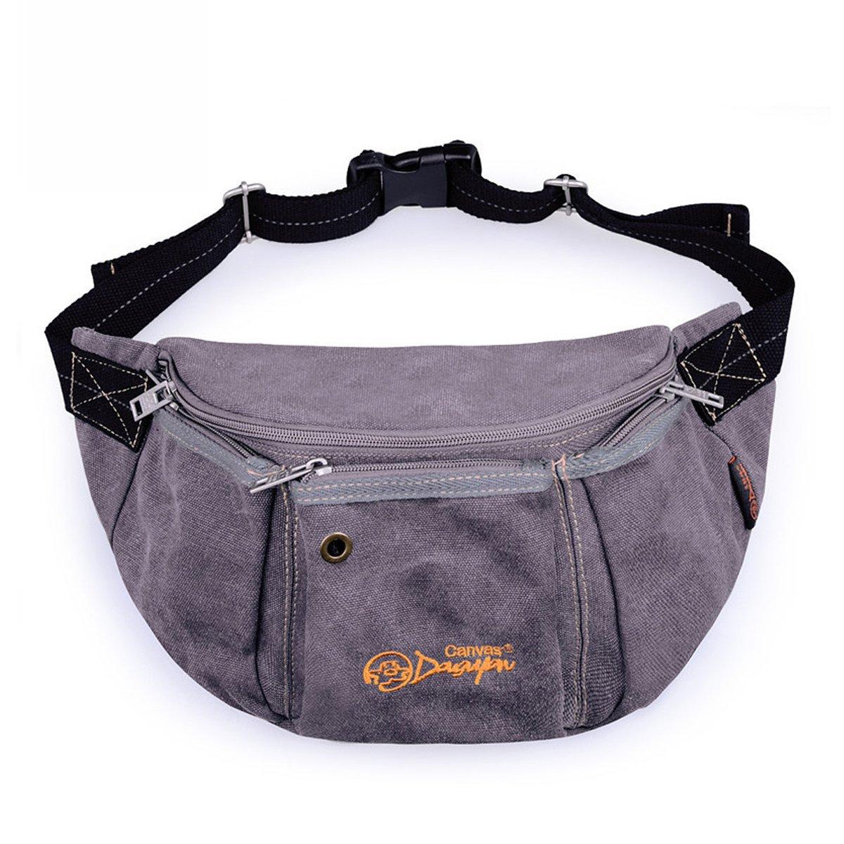 Douguyan Unisex Multifunction Canvas Waist Pack Vintage Fanny Pack Waist Bags Grey 123