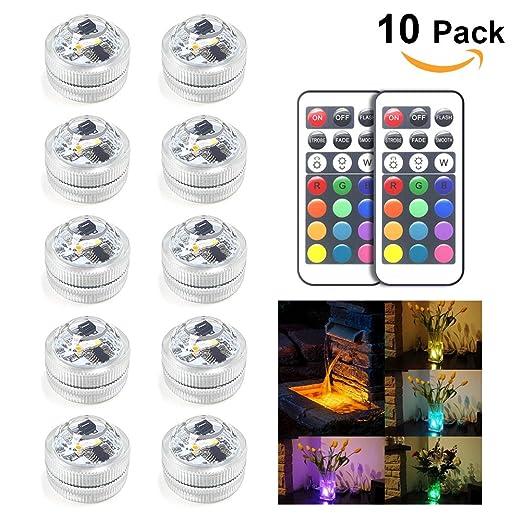 10pcs Amteker RGB Luces Sumergibles LED, Luces Subacuáticas Impermeables Cambio de Color para Tanque de