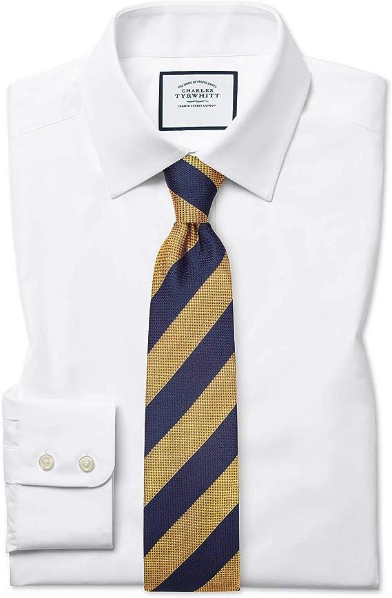 Camisa Blanca de Popelina de algodón Egipcio y Corte clásico: Amazon.es: Ropa y accesorios