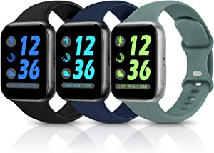 Sport Silicone Band Compatible with Apple Watch Bands 38mm 40mm 42mm 44mm,Soft Replacement Wristbands for iWatch Series 1/2/3/4/5/6/SE,Women Men,3 Pack(Black/Navy Blue/Cactus,42mm/44mm-M/L)