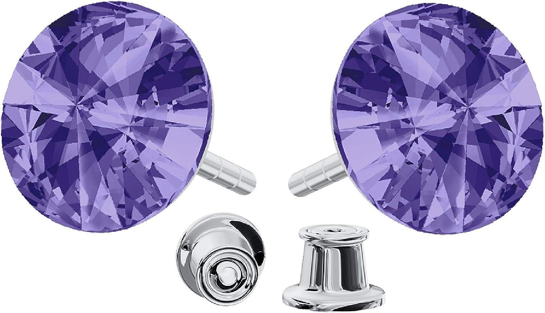 Crystals & Stones 925 Plata Pendientes *Rivoli* Colore *Tanzanite * Hermoso - Pendientes con Cristales de Swarovski Elements - Fantástica Pendientes con caja de regalo GWT/8 PIN/75