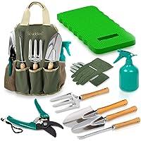 Scuddles Christmas gift Garden Tools Set - 8 Piece Heavy Duty Gardening Tools with Storage Organizer, Ergonomic Hand…