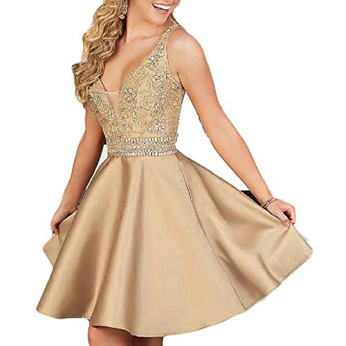 QSYE Womens a line Satin Homecoming Dresses with Beadings Short V Neck Prom Party Gowns H014