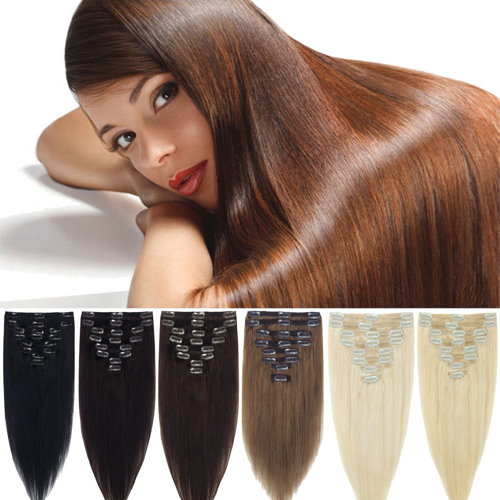 Lelinta 18'' 8Pcs 100% Remy Real Human Double Weft Thick Hair Straight Extension