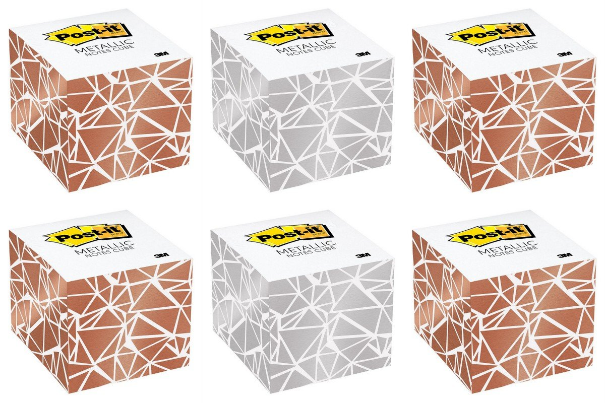 Post-it Metallic Notes Cube, 2.6'' x 2.6'', White/Gold/Silver, 620 Sheets (Pack of 6, 3720 Sheets)