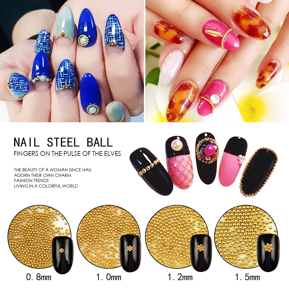 MEILINDS 3D Nails Art Decoration Mini Micro Ball Beads for Nail Studs Metal Round Ball Caviar by MEILINDS