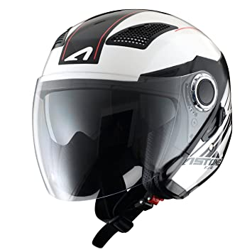 Astone Helmets fibra, Casco Jet, Espada, color Espada Blanco Negro, talla XS