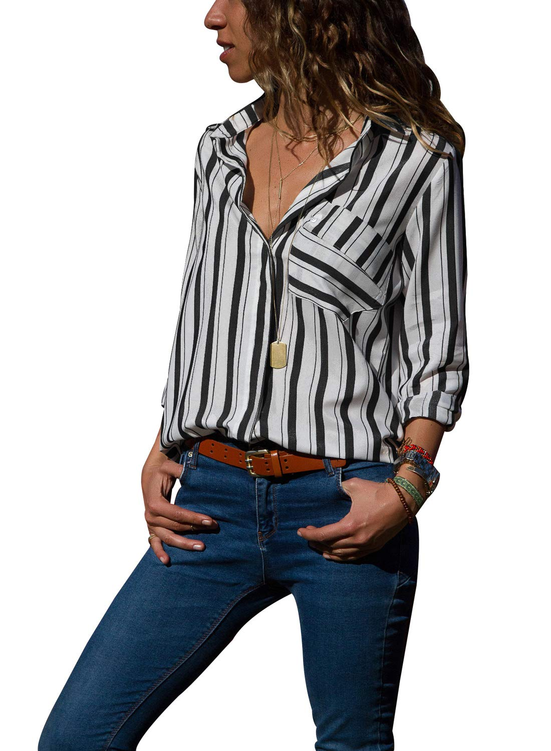 HOTAPEI Womens Casual V Neck Striped Chiffon Tops and Blouses 3 4 Long Sleeve Business Button Down Shirts Black and White Medium