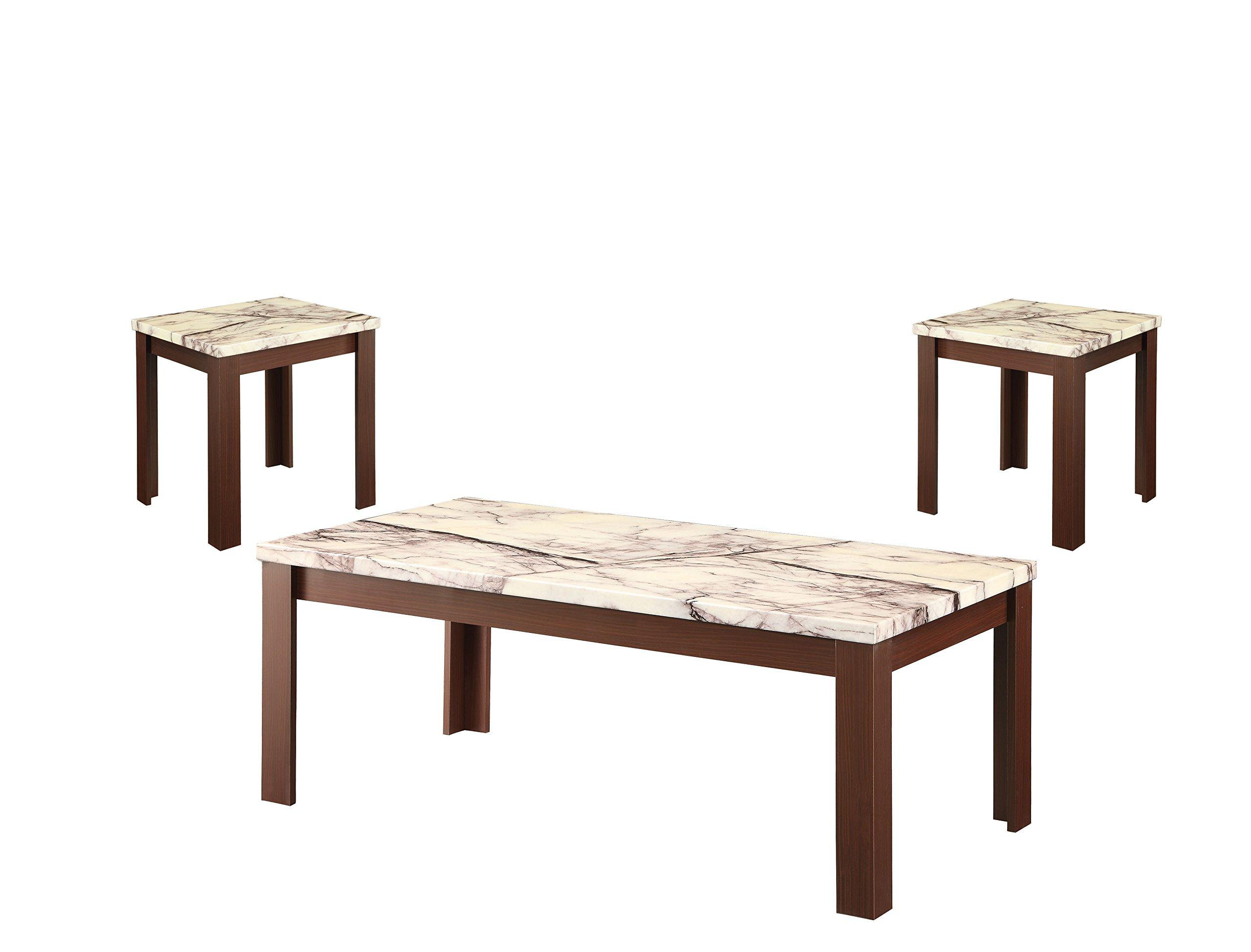 Acme 3 Piece Carly Coffee/End Table Set, Faux Marble & Cherry by Acme Furniture