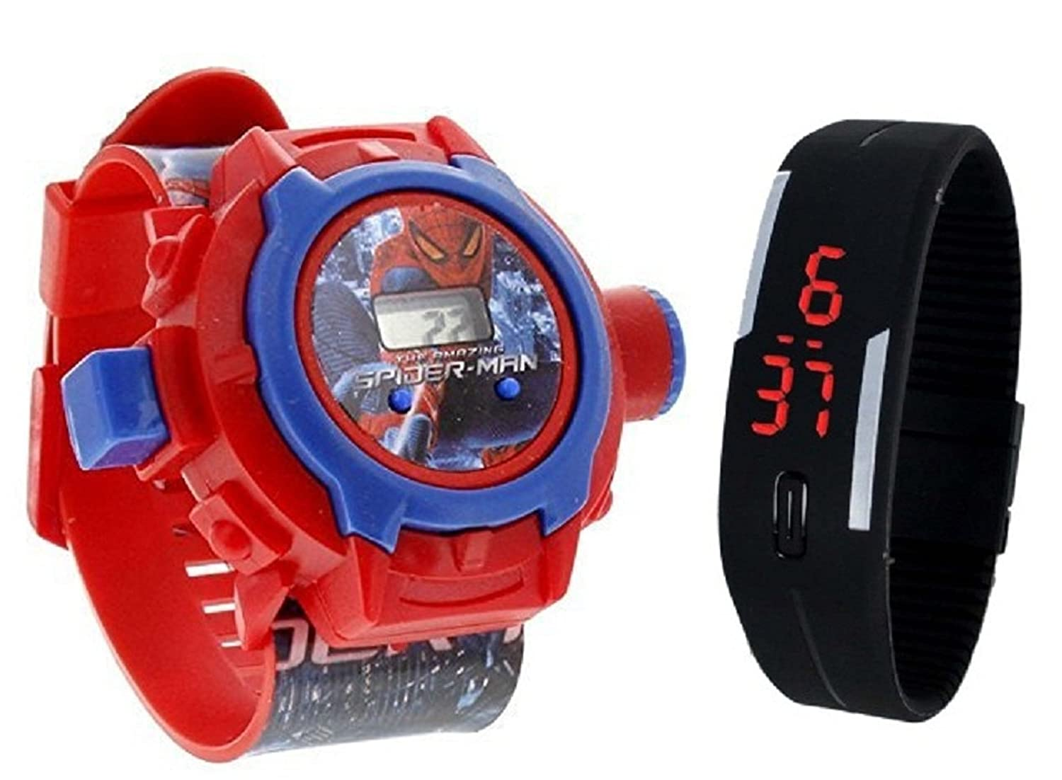 Pappi-Haunt - Quality Assured - Kids Special Toys - Pack of 2 -Spiderman Projector Band Watch + Jelly Slim Black Digital Led Band Watch for Kids, Children, ...