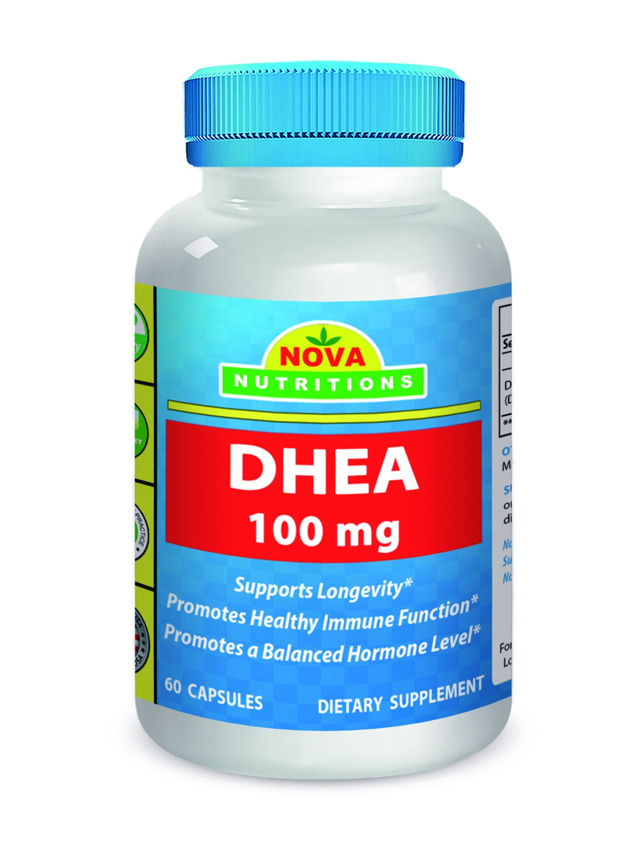 Nova Nutritions DHEA 100mg Supplement 60 Capsules - Supports Balanced Hormone Levels For Men & Women - Promotes Healthy Aging - Vegetarian Formula - USA Manufactured